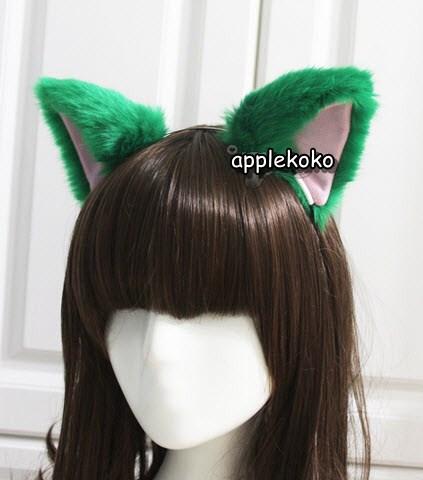 [[พร้อมส่ง]]  หูแมว หูแมวคอสเพลย์ แฟนซี cosplay คอสเพลย์ หูแมวแบบที่คาดผม สีเขียว
