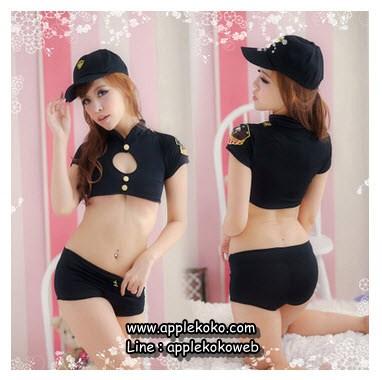 [[พร้อมส่ง]] ชุดแฟนซี cosplay ชุดตำรวจหญิงสีดำกระดุมหน้าสีเงิน 2 เม็ดโชว์อก
