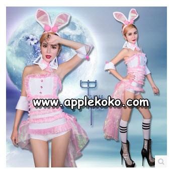 [[พร้อมส่ง]]  ชุดแฟนซี cosplay คอสเพลย์ ชุดกระต่าย Bunny เกาะอกชุดขาวระบายชมพูทั้งตัว