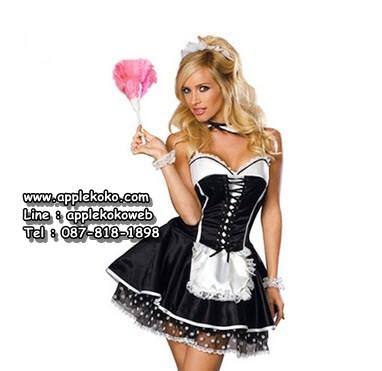 [[พร้อมส่ง]] ชุดแฟนซี cosplay ชุดคอสเพลย์ ชุดแม่บ้าน โลลิต้า lolita ชุดแม่บ้านฝรั่ง เกาะอก