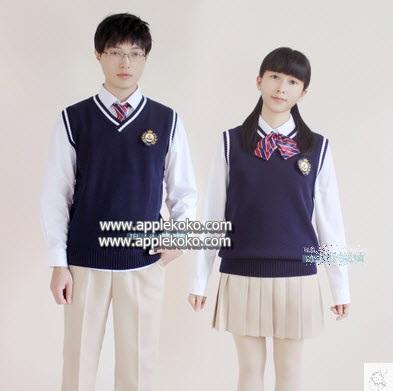 [[สินค้าหมด]] ชุดแฟนซี cosplay ชุดคอสเพลย์ ชุดนักเรียนญี่ปุ่น ผู้ชาย เชิร์ตขาวแขนยาว กางเกงสีกากี และ กั๊กน้ำเงิน