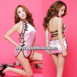[[พร้อมส่ง]]   ชุดแฟนซี cosplay  ชุดคอสเพลย์ ชุดคอจีน กี่เพ้าท์ สีชมพู ผ้ามัน
