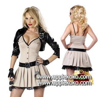 [[พร้อมส่ง]]   ชุดแฟนซี cosplay  ชุดคอสเพลย์ ชุดตำรวจ สีกากี คอวีพร้อมเสื้อหนังสีดำ