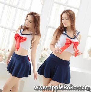 [[พร้อมส่ง]] ชุดแฟนซี cosplay ชุดนักเรียนญี่ปุ่น เสื้อสีขาวผูกด้านหลังโบว์แดง กระโปรงกรมท่า