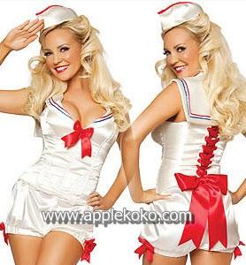 [[พร้อมส่ง]] ชุดแฟนซี cosplay ชุดคอสเพลย์ ทหารเรือ นาวิกโยธิน navy ชุดทหารเรือผ้ามันสีครีม แบบกางเกง