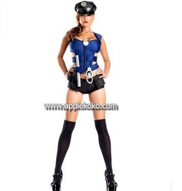 [[พร้อมส่ง]] ชุดแฟนซี cosplay ชุดคอสเพลย์ ชุดตำรวจ Police เสื้อน้ำเงิน กางเกงตัวสั้น