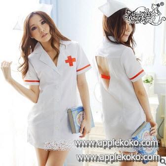 [[สินค้าหมด]] ชุดแฟนซี cosplay ชุดคอสเพลย์ ชุดนางพยาบาล สีขาว กุ๊ดขอบสีแดง