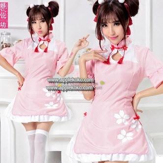 [[พร้อมส่ง]] ชุดแฟนซี cosplay ชุดคอสเพลย์ ชุดคอจีน กี่เพ้าท์ สีชมพู ลายดอกโบตั๋น