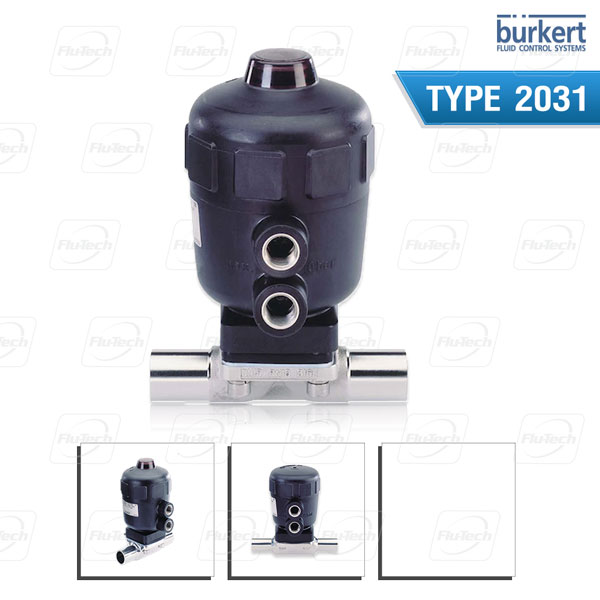 BURKERT Type 2031 - Pneumatically operated 2/2 way diaphragm valve CLASSIC with stainless steel body