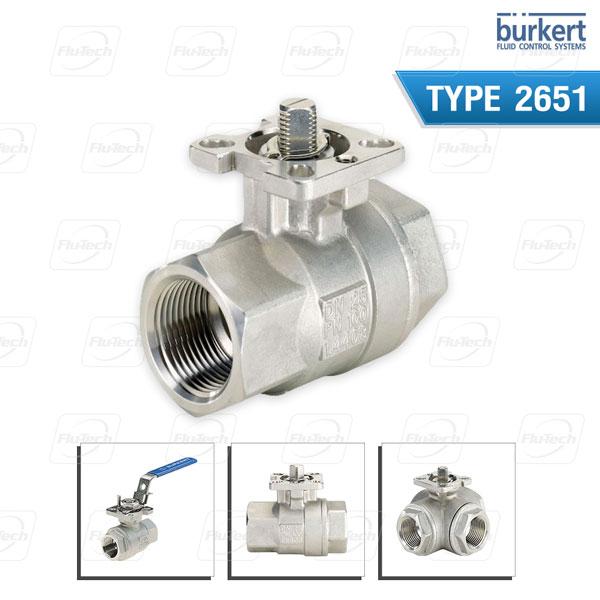 Burkert Type 2651 - 2/2 or 3/2 way Ball Valve, 2-Piece