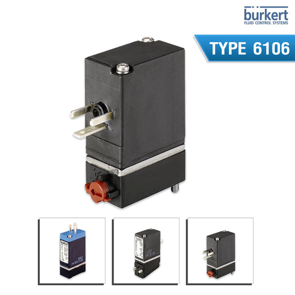 Burkert Type 6106 - 2/2 or 3/2 way Pneumatic-Rocker-Solenoid Valve