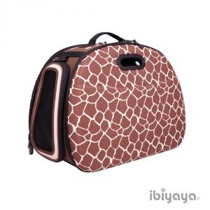 กระเป๋าใส่สุนัขและแมวแบบพับได้ ibiyaya ลายยีราฟ
