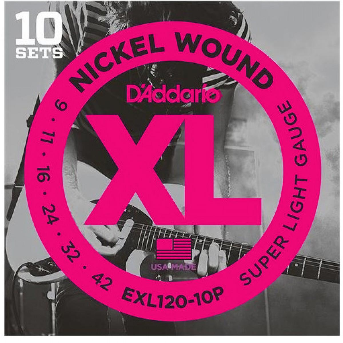 D'Addario EXL120-10P Nickel Super Light Electric Guitar Strings 1-Pack