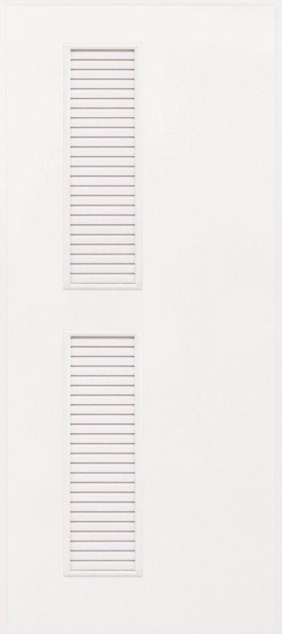 ประตู PVC สีครีม,เทา บานเรียบ เจาะเกล็ดข้าง บน-ล่าง