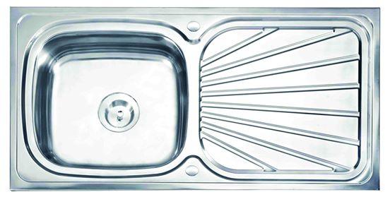 อ่างล้างจาน สแตนเลส 1 หลุม แบบฝัง มีที่พักจาน รุ่่น ST002