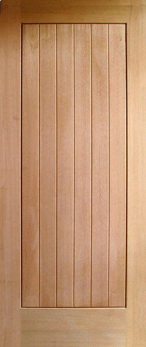 ประตูไม้เนื้อแข็งบานเรียบแนวตั้ง (ไม่ทำสี) ขนาด 90x200 ซม.