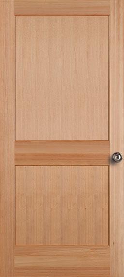 ประตูไม้เนื้อแข็งบานลูกฟัก 2 ช่องตรง (ไม่ทำสี) ขนาด 90x200 ซม.