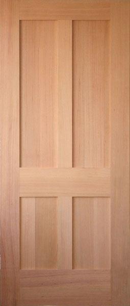ประตูไม้เนื้อแข็งบานลูกฟัก 4 ช่องตรง (ไม่ทำสี) ขนาด 90x200 ซม.