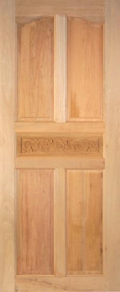 ประตูไม้แกะสลัก ปีกนกแกะลายคาดกลาง