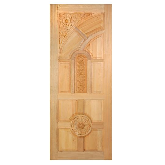 ประตูไม้สยาแดง บานโค้งทึบ