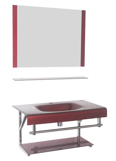 เคาน์เตอร์อ่างล้างหน้ากระจกนิรภัย พร้อมกระจกเงา ชั้นวางของในห้องน้ำ