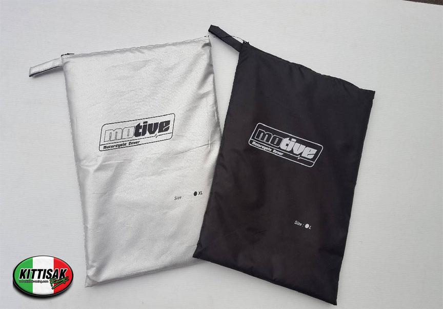 ผ้าคลุมรถมอเตอร์ไซค์ SIZE L- สำหรับรถทั่วไป  สีดำ-สีเทา