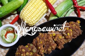ทอดมันข้าวโพดเห็ดสับ Deep Fried Vegetarian Spicy and Sweet Corn with Minced Mushroom Ball