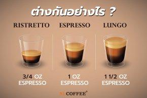 Ristretto / Espresso / Lungo ช็อตกาแฟทั้ง 3แบบ วิธีการต่างกันอย่างไร