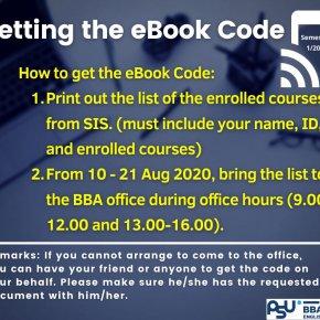 GETTING THE E-BOOK CODE