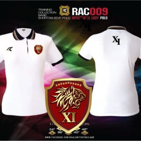 เสื้อกีฬาคอปก ผู้หญิง Real united RAC009 สีขาว ตำรวจ