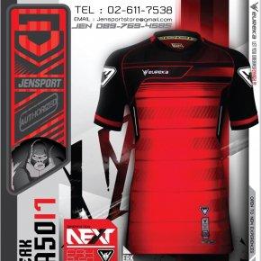 เสื้อฟุตบอล EUREKA ERK-A5017 สีแดง พร้อมแล้ว