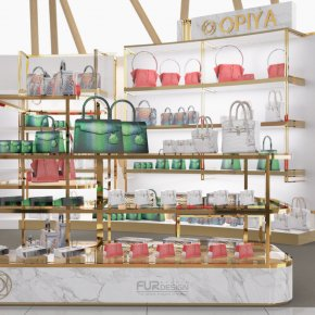 Design, manufacture and installation of stores: OPIYA bag shop, Paragon department store, Bangkok.