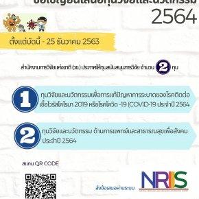 วช.ประกาศให้ทุนสนับสนุนการวิจัย 2 ทุน_2564