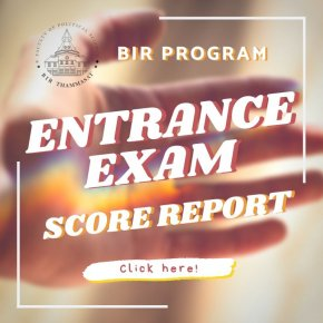 BIR Entrance Exam Score Report 2020