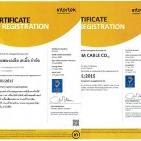 ใบรับรองมาตรฐานบริหารการผลิต ISO 9001