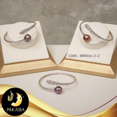 กำไลมุกบาร็อค Ripple Pearl หางจระเข้ประดับเพชร มุกสีม่วง copper ทรงบาร็อค เกรด AAA ขนาด 10-11 mm. ตัวเรือนเงินแท้ 92.5 ชุบทองคำขาว / B478