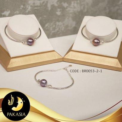 กำไลข้อมือมุกเม็ดเดี่ยว จุกห่วงคู่ มุก Ripple Pearl สีม่วง / B476