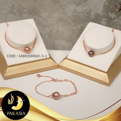 สร้อยข้อมือโซ่ 2 style มุกเม็ดเดี่ยว สีม่วง Copper ทรงบาร็อค Ripple Pearl ขนาด 10-11 mm เกรด AA+ ตัวเรือนเงินแท้ 92.5 ชุบ Pink Gold ตะขอสปริงกลม / B482