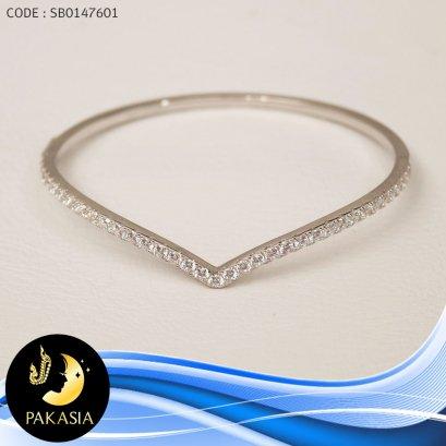 กำไล PAKASIA (เส้นผ่านศูนย์กลาง 6.2 cm.)[เงินชุบทองคำขาว] / B385