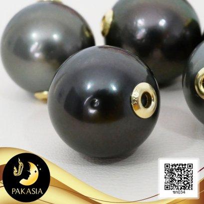 (ไม่รวมสร้อย) จี้ไข่มุกตาฮิติ  เจาะทะลุ ฝาครอบเกลี้ยง 2 ด้าน ขนาด 1.2 mm ไข่มุกตาฮิติ น้ำเค็มคัดเกรด สีดำ ทรงกลม ขนาด 11 mm เกรด AA+ ตัวเรือนฝาครอบเกลี้ยง เงินแท้ 92.5 ชุบทอง / 19.9.64