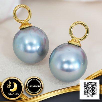 ส่วนห้อยต่างหู / จี้ ทองแท้ไข่มุกเม็ดเดี่ยว จุกจี้เกลี้ยงห่วงใหญ่ ไข่มุกตาฮิติน้ำเค็มคัดเกรด สี Ocean Blue ทรงกลม - ไข่ ขนาด 10-11 mm เกรด AA+ ตัวเรือนห่วงใหญ่จุกจี้เกลี้ยง ทองแท้ 18K น้ำหนักทอง 0.51g / 20.10.64