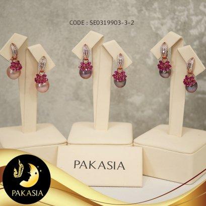 ต่างหูมุกเกอิชา(มีฟังค์ถอดได้) มุกสีม่วง ทรงบาร็อค ขนาด 11-11.5 mm เกรด AA+ ตัวเรือนเงินแท้ 92.5 ชุบ Pink Gold ประดับพลอยและเพชร CZ/ E701
