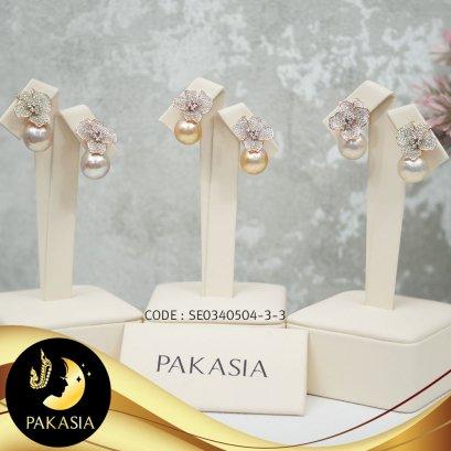 ต่างหูติดหูดอกอูนิโกะใหญ่ มุกน้ำจืดคัดเกรด สีพีชโอลด์โรส ขนาด 11-12 mm เกรด AA+  ตัวเรือนเงินแท้ชุบ Pink Gold ประดับพลอยแท้ White Topaz  /  E703