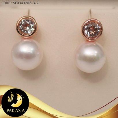 ต่างหูมุก Akoya พลอยติดหู มุกสีขาว ทรงกลม ขนาด 7 mm เกรด AA+ ตัวเรือนเงินแท้ 92.5 ชุบ Pink Gold ประดับพลอยแท้ White Topaz / E681