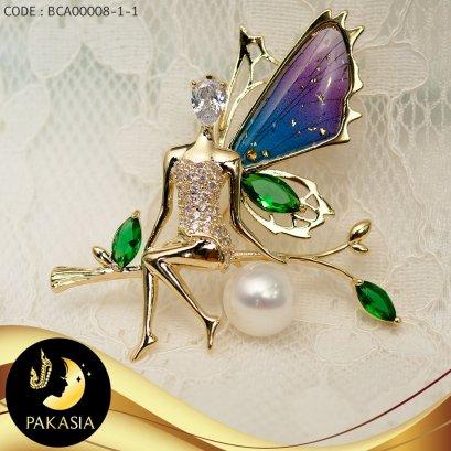 เข็มกลัดมุกขาว little fairy ประดับเพชร (นั่ง) / SN0080YK191