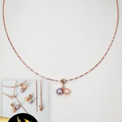 จี้พร้อมสร้อย Choker ไข่มุกทวิน ห่วงงับใหญ่ ไข่มุก Edison น้ำจืดคัดเกรด สี ม่วง-พีช ทรงกลม ขนาด 7.5-8 mm เกรด AAA ตัวเรือนสร้อย Choker และห่วงงับใหญ่ เงินแท้ 92.5 ชุบ Pink Gold / 19.9.64