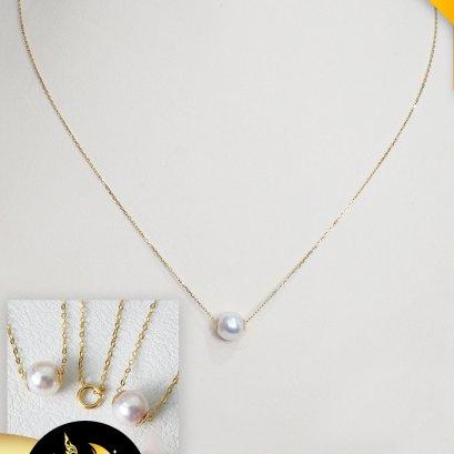 """สร้อยจี้ทองแท้ ไข่มุก Akoya เจาะทะลุ ฝาครอบเกลี้ยงทองแท้ 2 ด้าน พร้อมสร้อยคอทองแท้ ความยาว 18"""" ไข่มุก Akoya น้ำเค็มคัดเกรด สีขาว ทรงกลมขนาด 8 mm เกรด AAA ตัวเรือนสร้อยคอ ตะขอสปริงกลม ฝาครอบเกลี้ยง ทองแท้ 18K / 19.9.64"""