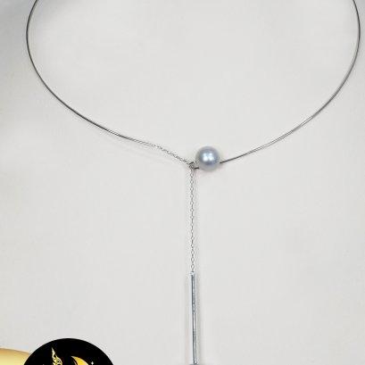 สร้อยคอ Choker ลวดเงินแท้ ตะขอเกี่ยวสร้อยโซ่ห้อยไข่มุก ไข่มุกตาฮิติน้ำเค็มคัดเกรด  สีเทา ทรงเกือบกลม ขนาด 8-11 mm เกรด AA ตัวเรือน Choker ลวดเงินตะขอเกี่ยว พร้อมสร้อยโซ่ปรับความยาวได้ เงินแท้ 92.5 ชุบทองคำขาว / 19.9.64