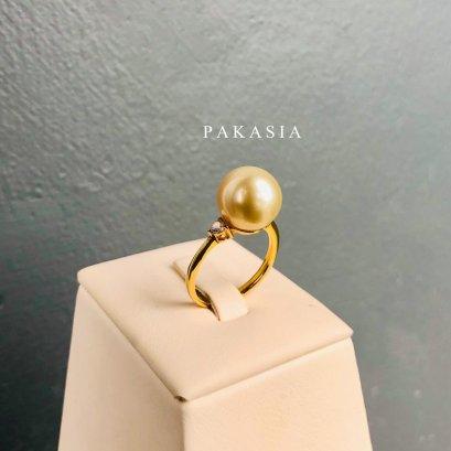 (เปิดขายเฉพาะในกลุ่ม)แหวนไข่มุก South Sea น้ำเค็มคัดเกรด สีทอง Light Gold ทรงกลม ขนาดจัมโบ้ 10-11 mm เกรด AA+ Luster ดีมากตัวเรือนแหวน ปรับไซส์ไม่ได้ ขนาด 53  เงินแท้ 92.5 ชุบทอง ประดับเพชร CZ