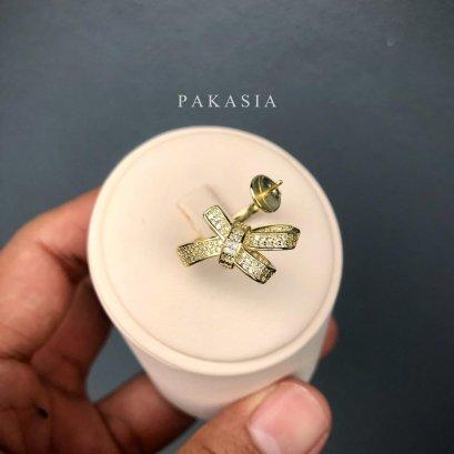(เปิดขายเฉพาะในกลุ่ม) แหวน Open Ring โบว์ใหญ่ ประดับเพชร CZ ไข่มุก South Sea น้ำเค็มคัดเกรด สีทอง Middle - Deep Gold ทรงเกือบกลม ขนาดจัมโบ้ 12.30 mm เกรด AA+ (ไข่มุกผ่านการรับรองจากสถาบัน GIA) Luster ดีเยี่ยม ตัวเรือนแหวนแบบ Open Ring เงินแท้ 92.5 ชุบทอง